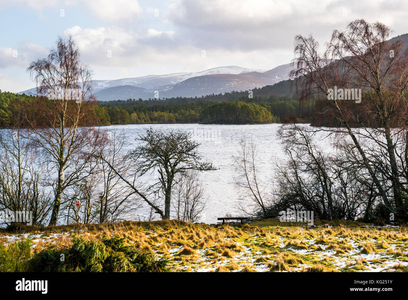 Loch an Eilein with Cairngorm Mountain behind, Aviemore, Cairngorms National Park, Scotland, United Kingdom, Europe - Stock Image