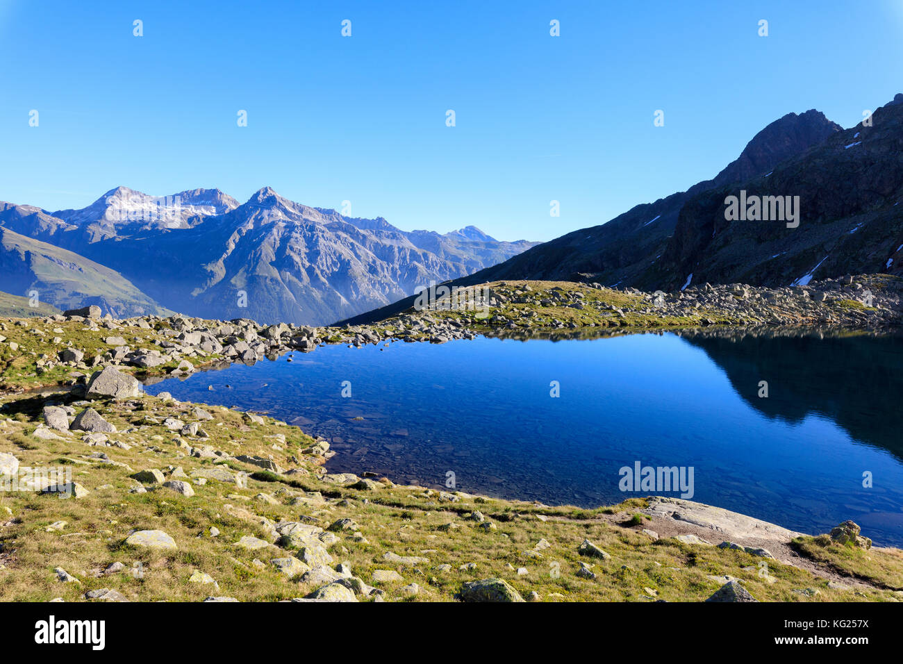 Lake Bergsee at sunrise, Chiavenna Valley, Spluga Valley, Spluga Pass, province of Sondrio, Valtellina, Lombardy, - Stock Image