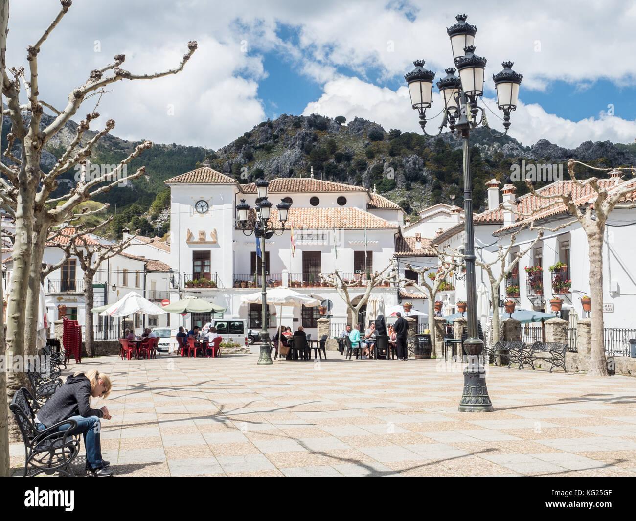 Main plaza, Grazalema, Andalucia, Spain, Europe - Stock Image