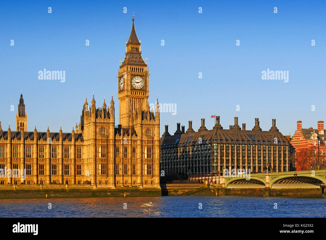 Big Ben, Houses of Parliament, UNESCO World Heritage  Site, London, England, United Kingdom, Europe - Stock Image