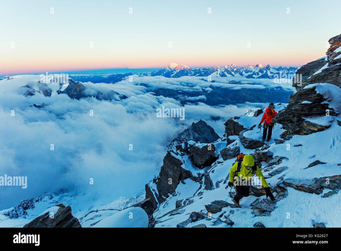 Sunrise view to Mont Blanc in France from Grand Combin, Valais, Swiss Alps, Switzerland, Europe - Stock Image