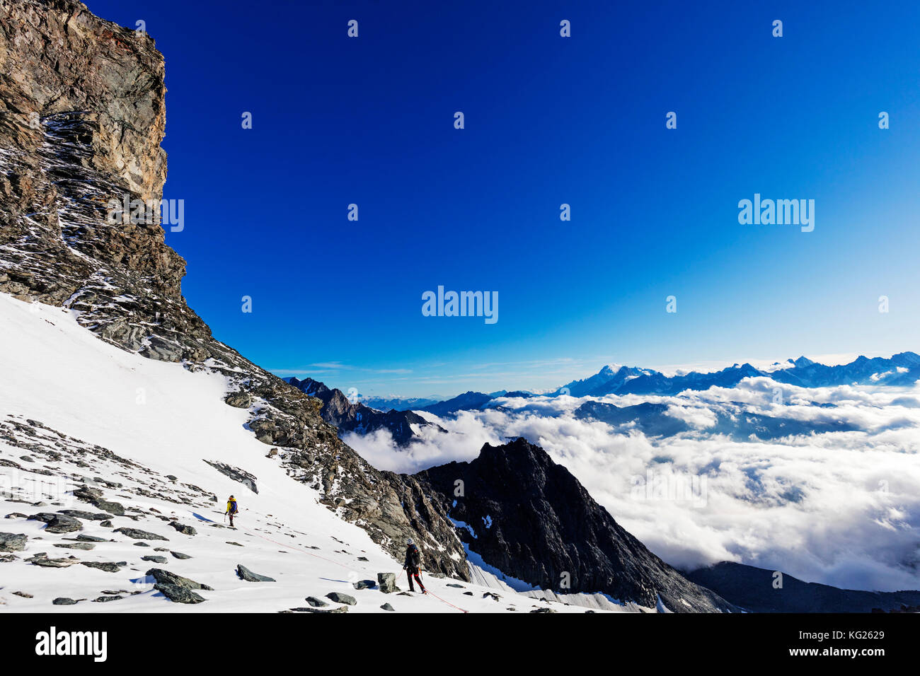 View to Mont Blanc in France from Grand Combin, Valais, Swiss Alps, Switzerland, Europe - Stock Image