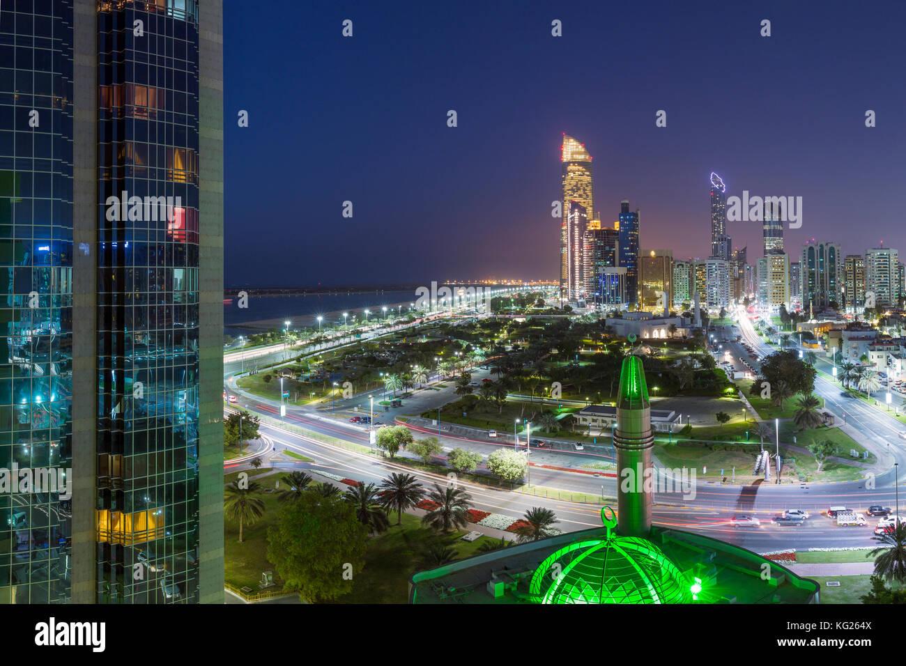 Modern city skyline, Abu Dhabi, United Arab Emirates, Middle East - Stock Image