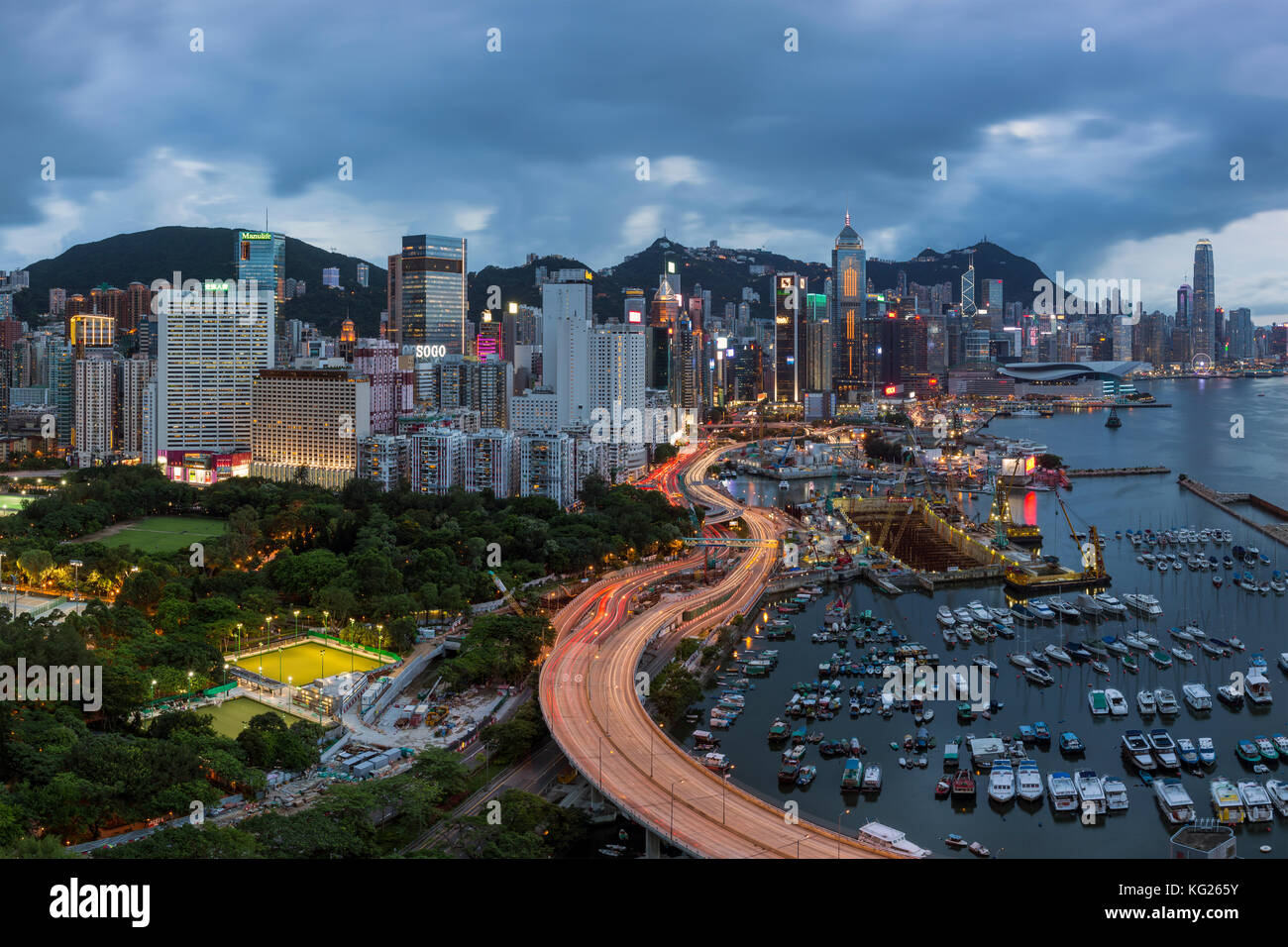 Elevated view, Harbour and Central district of Hong Kong Island and Victoria Peak, Hong Kong, China, Asia - Stock Image