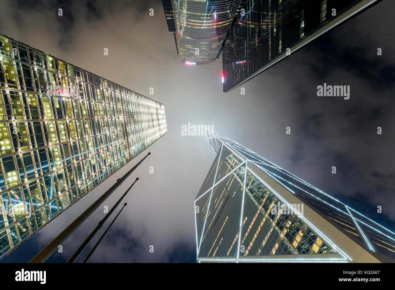 Low angle view of skyscrapers in Central, Hong Kong Island, Hong Kong, China, Asia - Stock Image