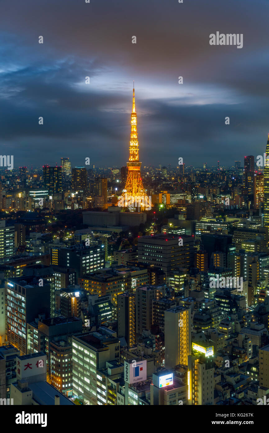 Elevated night view of the city skyline and iconic illuminated Tokyo Tower, Tokyo, Japan, Asia - Stock Image