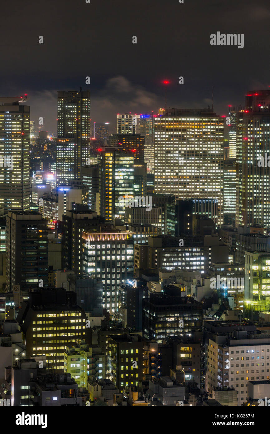 Downtown city buildings at night, Tokyo, Japan, Asia Stock Photo