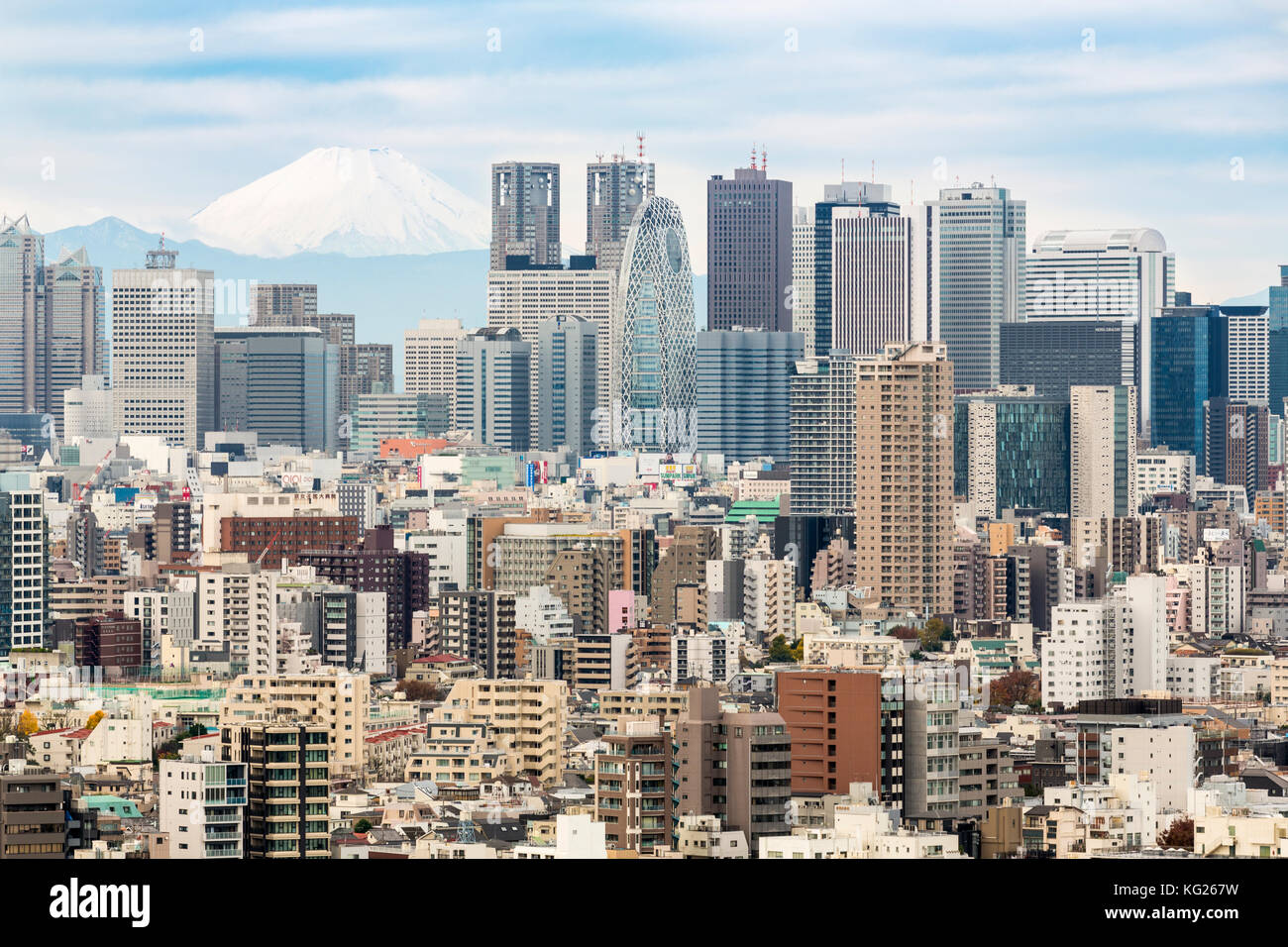 Mount Fuji and the Shinjuku district skyscraper skyline, Tokyo, Japan, Asia - Stock Image