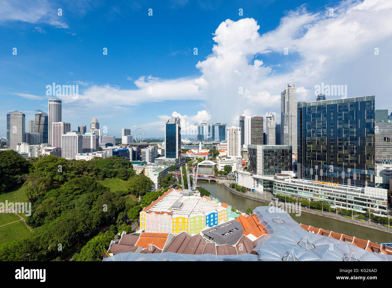 City skyline and riverside restaurants at the entertainment district of Clarke Quay, Singapore, Southeast Asia, - Stock Image