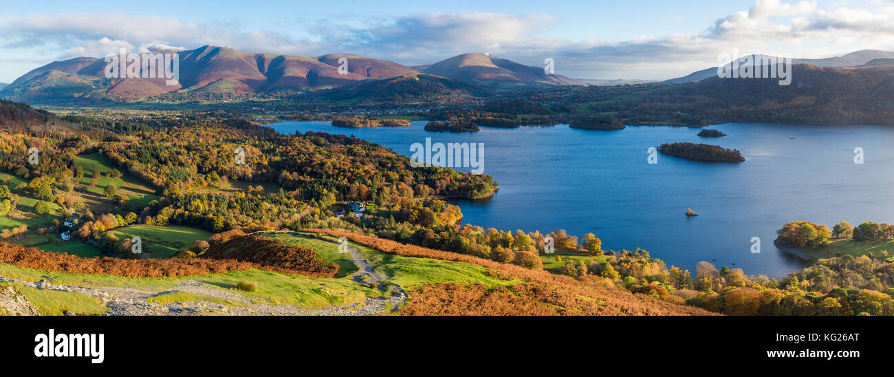 Derwent Water and Skiddaw mountains beyond, Lake District National Park, UNESCO World Heritage Site, Cumbria, England, - Stock Image