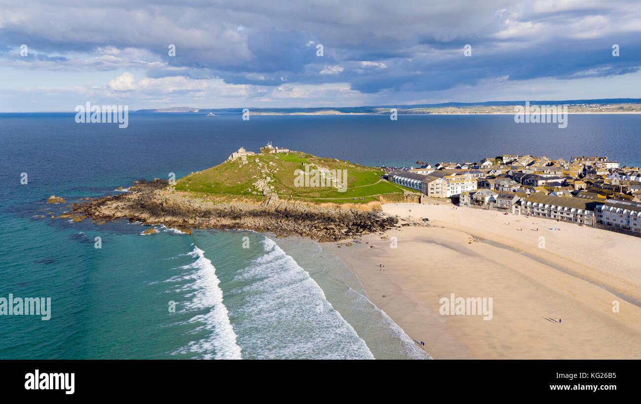 Porthmeor beach, St. Ives, Cornwall, England, United Kingdom, Europe Stock Photo
