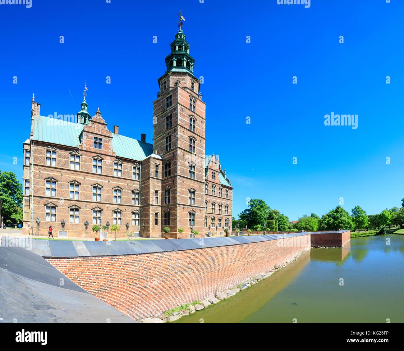 Panoramic of Rosenborg Castle built in the Dutch Renaissance style, Copenhagen, Denmark, Europe - Stock Image