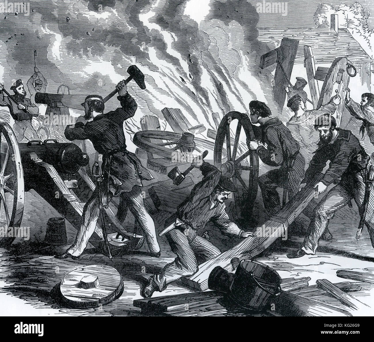 AMERICAN CIVIL WAR: A Union raiding party from the gunboat Seneca destroying cannons and limbers at the Confederate - Stock Image