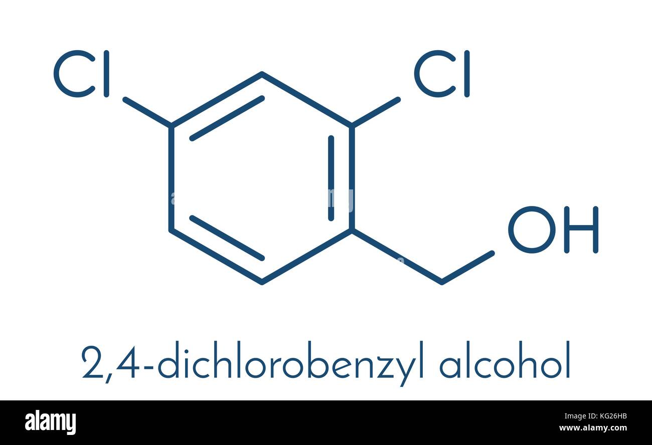 2,4-dichlorobenzyl alcohol antiseptic drug molecule. Used in lozenges to treat sore throat. Skeletal formula. - Stock Vector