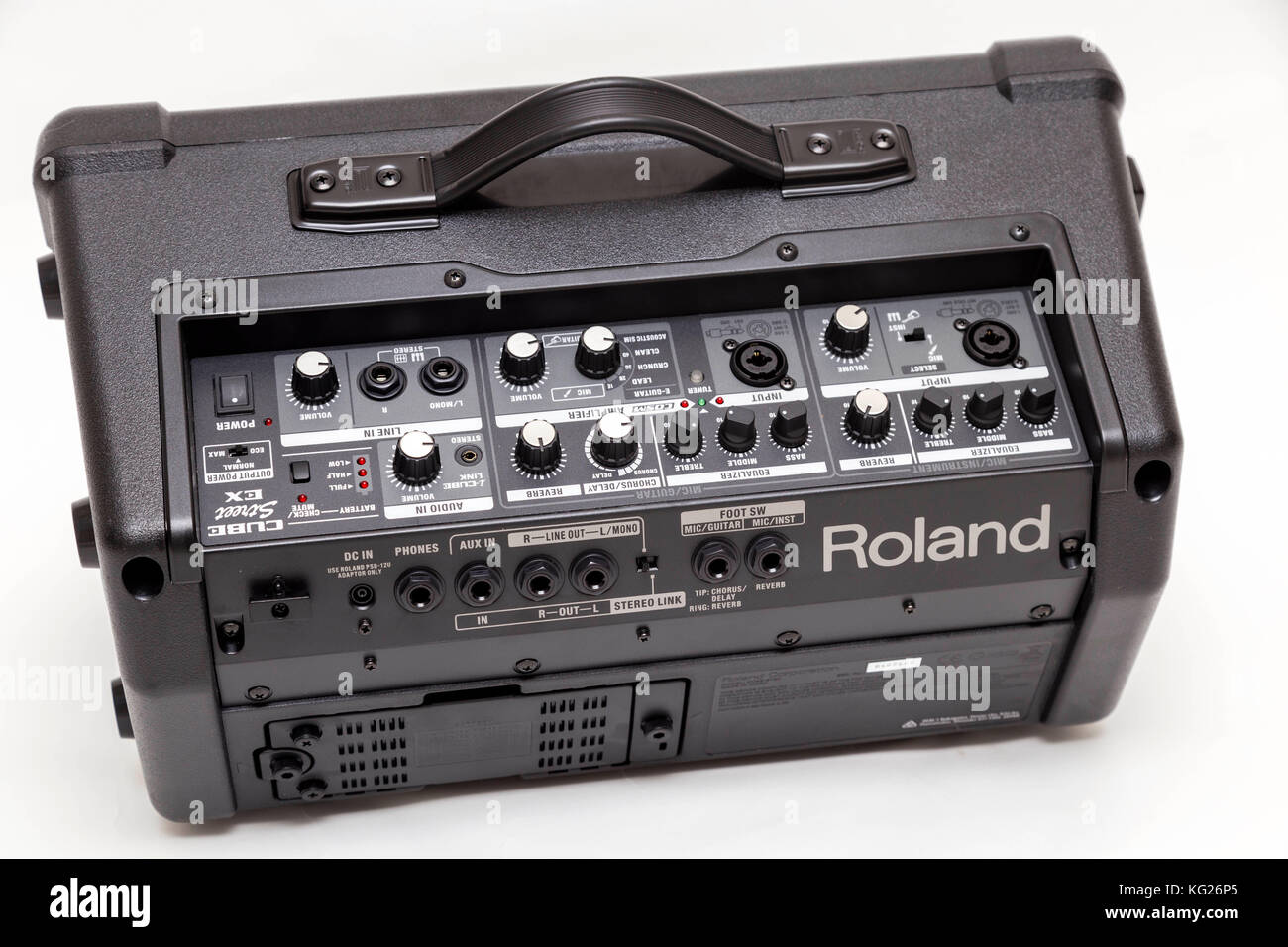 Roland Street Cube EX buskers amplifier. XLR microphone inputs, guitar channel, keyboards - Stock Image