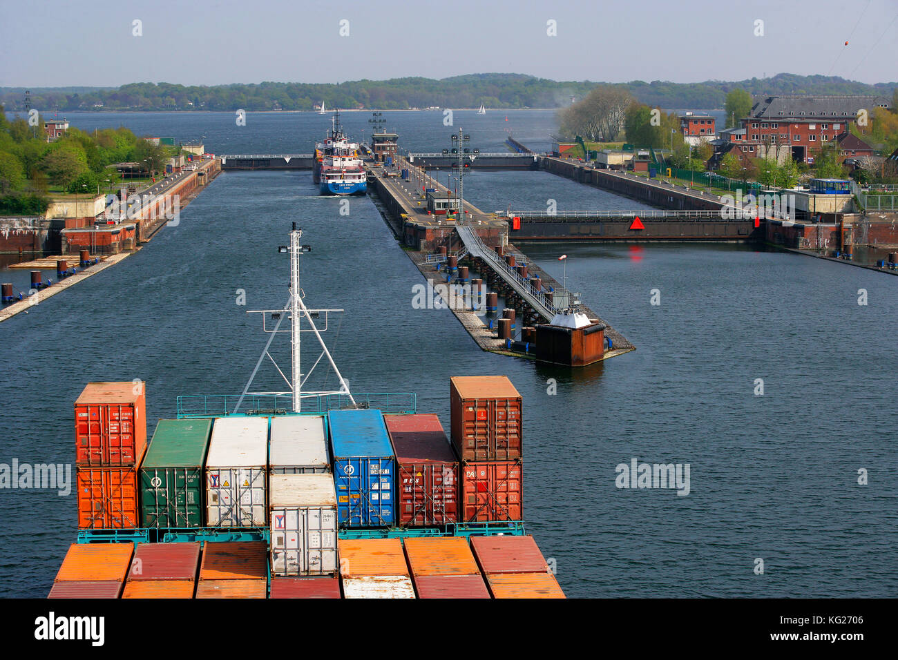 Kiel Canal, lock at Kiel-Holtenau, Schleswig-Holstein, Germany, Europe - Stock Image
