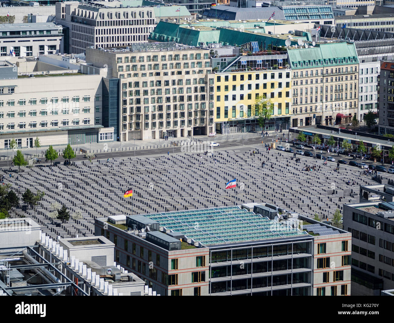 Cityscape view towards the Holocaust Memorial as seen from the viewing platform of the Kollhoff Tower, Berlin, Germany, - Stock Image