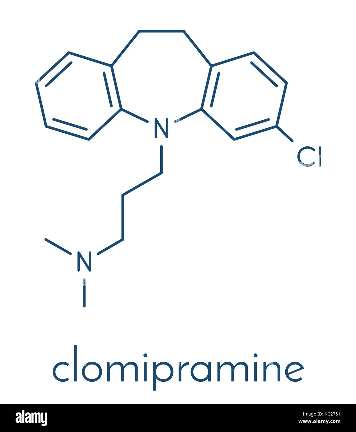 Clomipramine tricyclic antidepressant drug molecule. Used in treatment of depression, obsessive-compulsive disorder, - Stock Vector