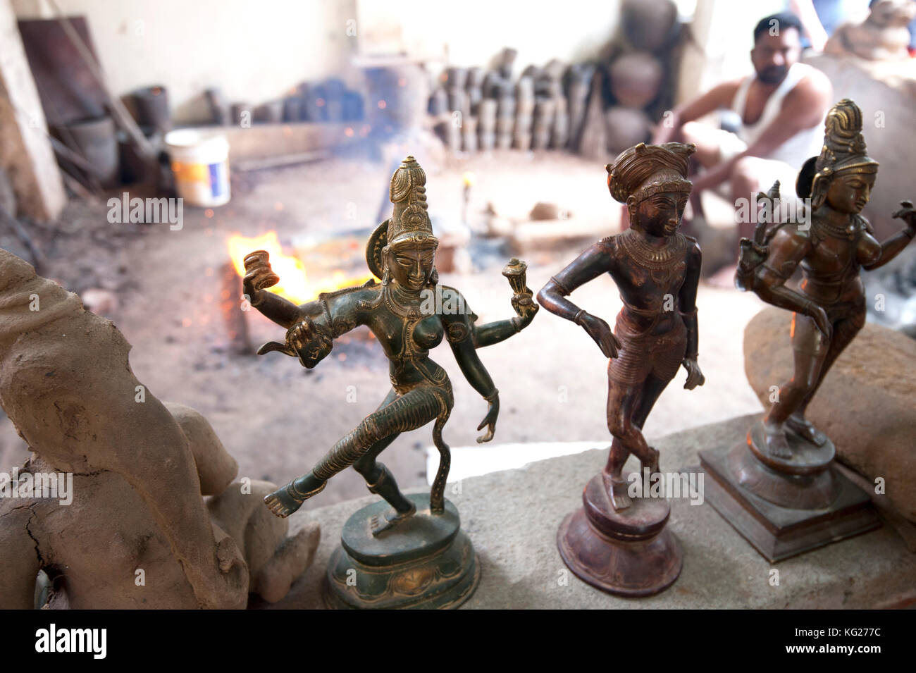 Traditional cast bronze statues of Nataraj in traditional Chola style lost wax bronze casting workshop, Thanjavur, - Stock Image
