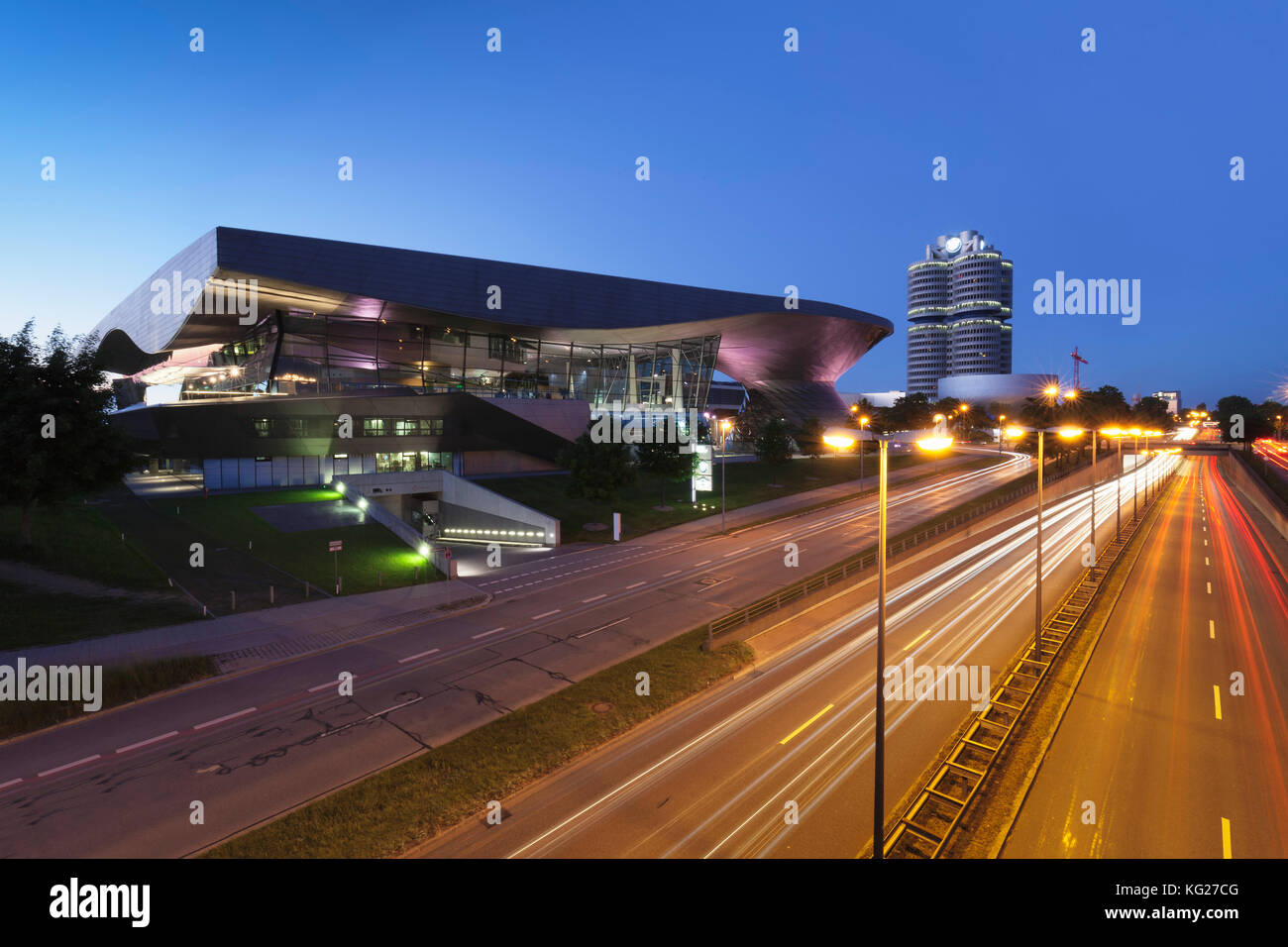 BMW Welt with BMW building and BMW Museum, Olympiazentrum, Mittleren Ring, Munich, Bavaria, Germany, Europe - Stock Image