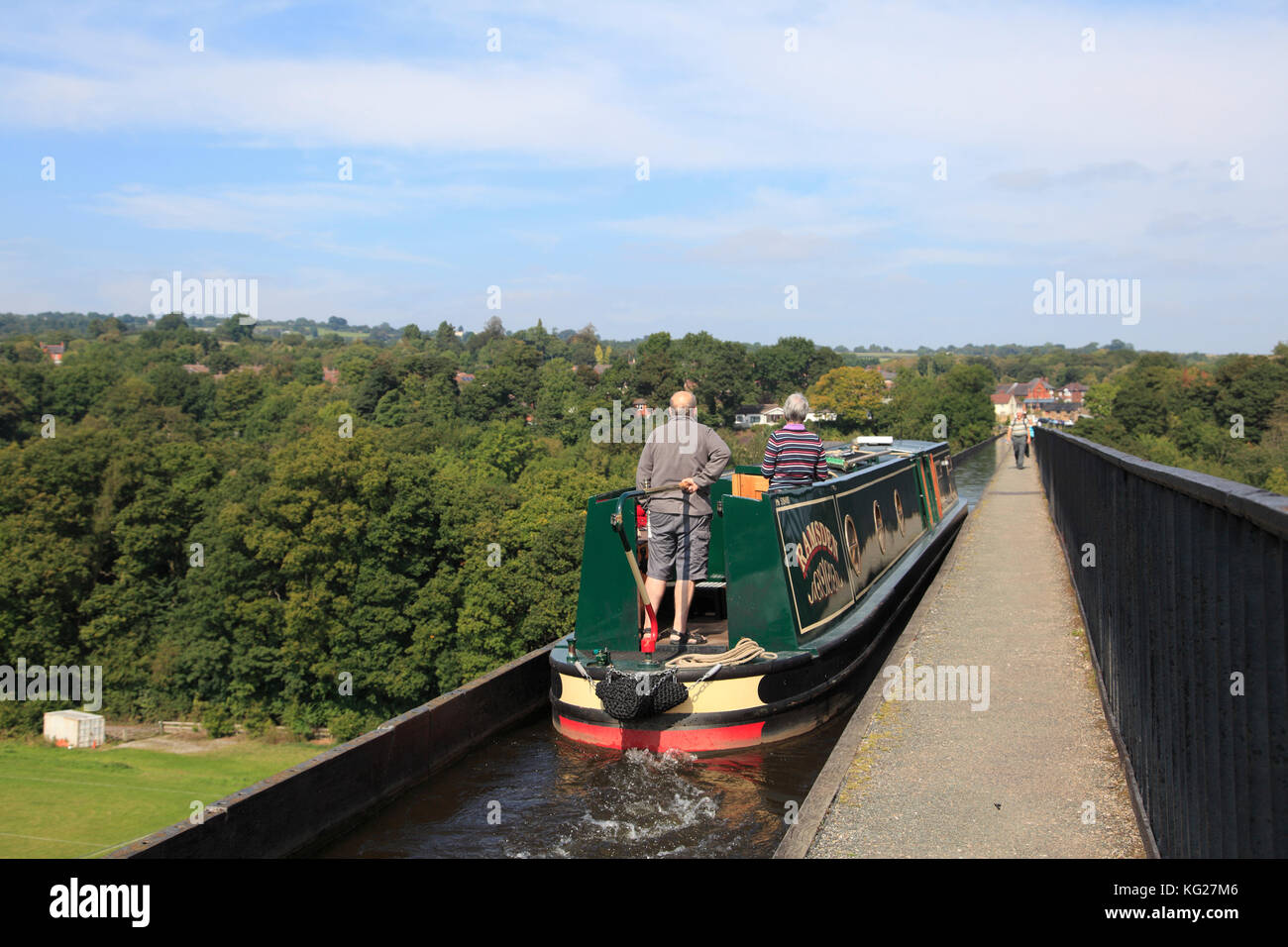 Narrow Boat, Pontcysyllte Aqueduct, UNESCO World Heritage Site, Llangollen, Dee Valley, Denbighshire, North Wales, - Stock Image