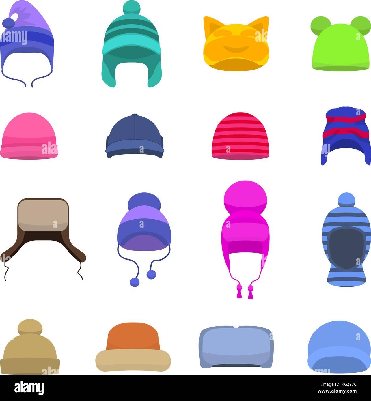 vector set cartoon winter hats cap beanie stock vector art rh alamy com cartoon hats for sale cartoon hats from films