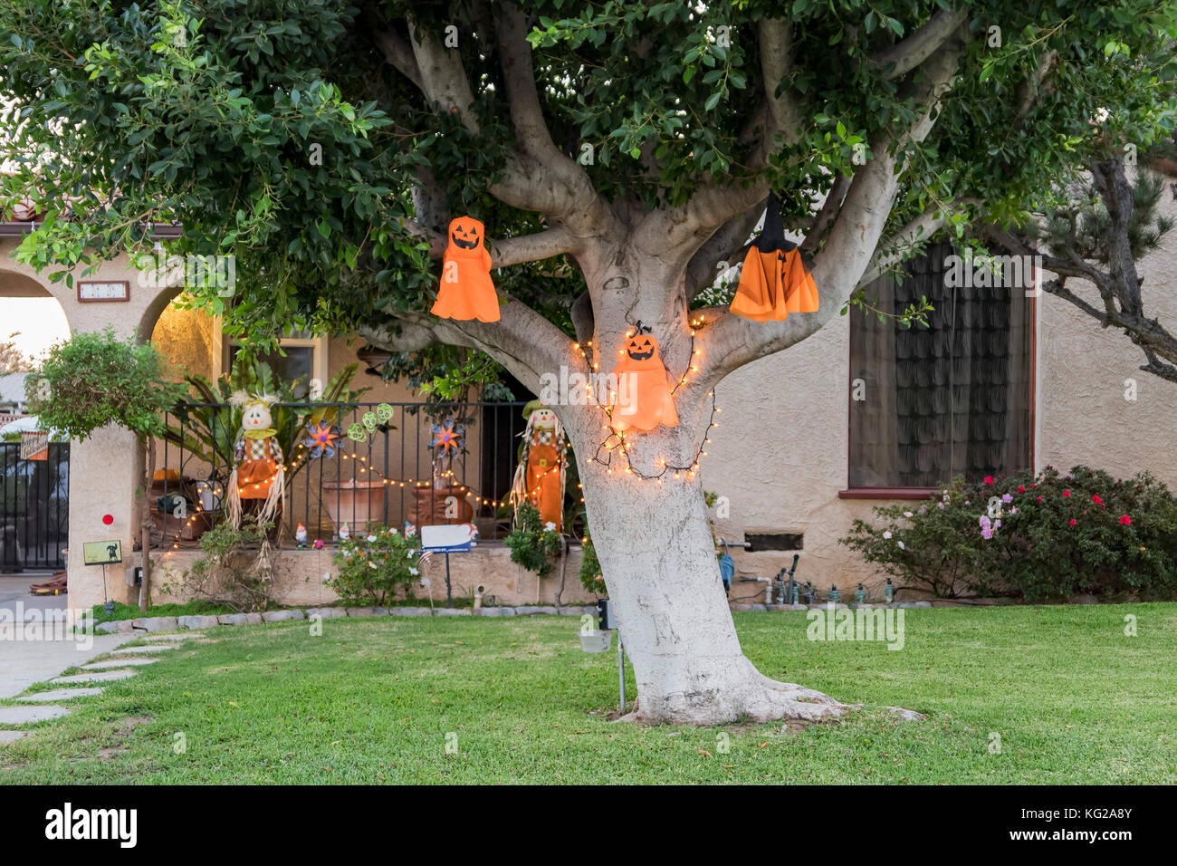Cute Hallwoeen decoration in a front yard at Los Angeles, California, United States - Stock Image