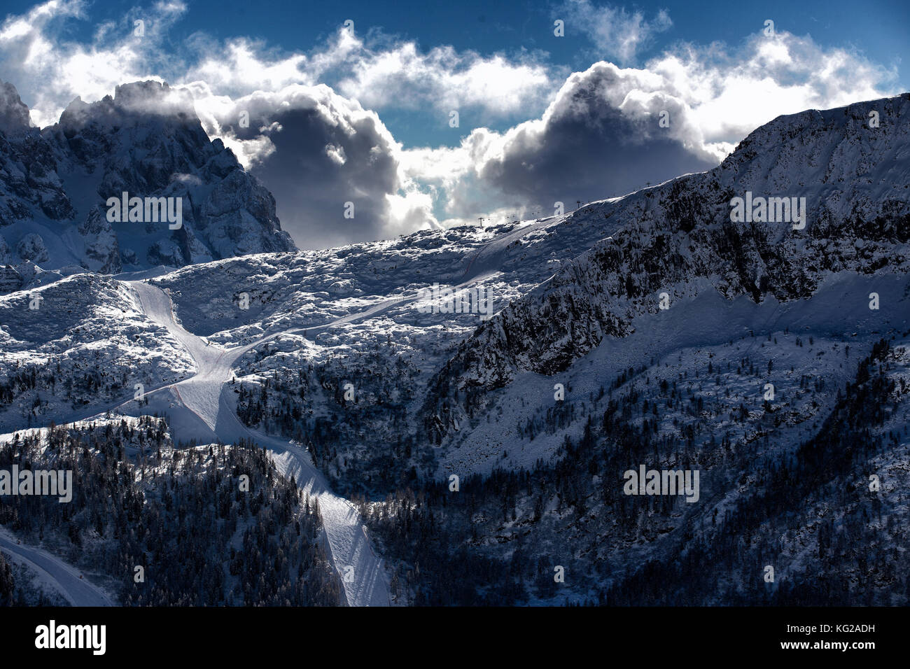 ski resort landscape with good winter weather - Stock Image