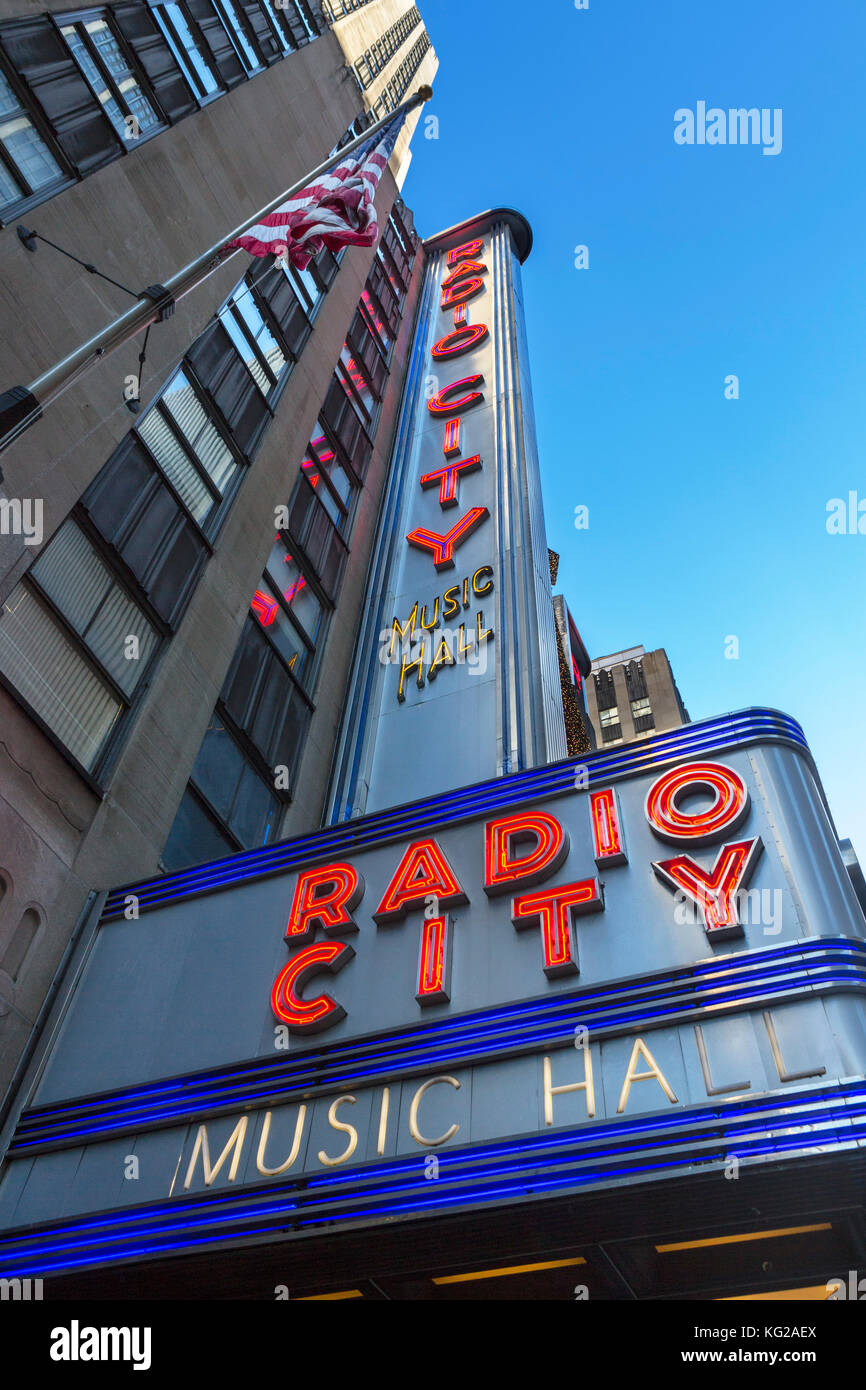 Radio City Music Hall, New York City. Radio City Music Hall, Rockefeller Center, Avenue of the Americas, Midtown - Stock Image