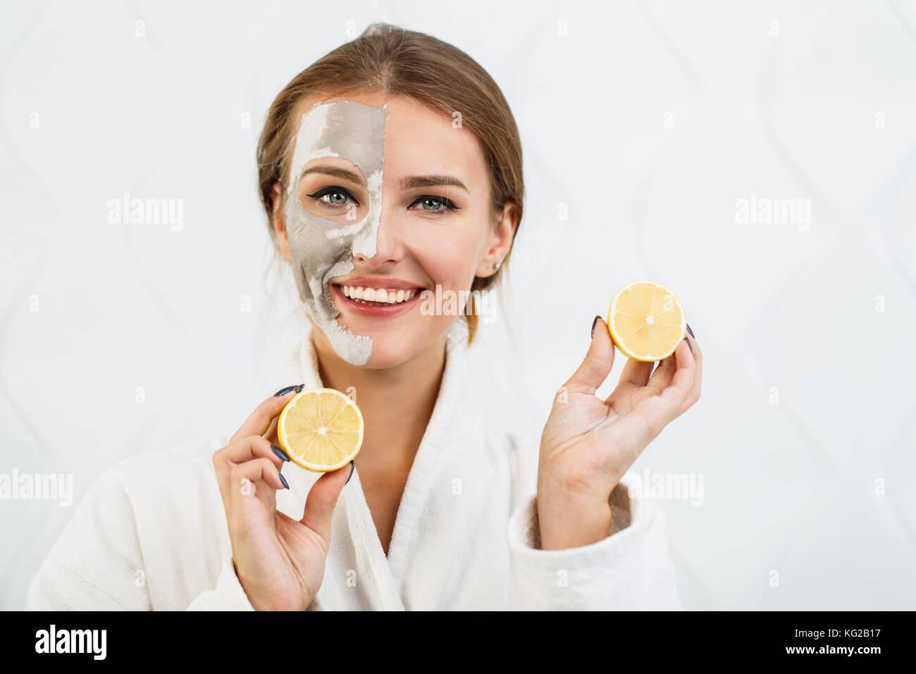 Lovely Girl with Lemon - Stock Image