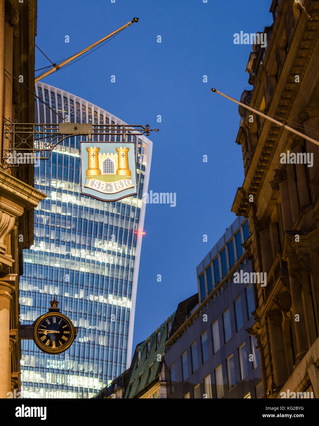 Hanging sign TSB in Lombard Street, London, superimposed on distant view of 20 Fenchurch St, Walkie Talkie building, - Stock Image