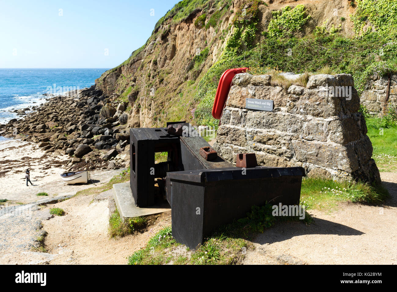 the boat winch on the slipway at porthgwarra cove in cornwall, england, uk. - Stock Image