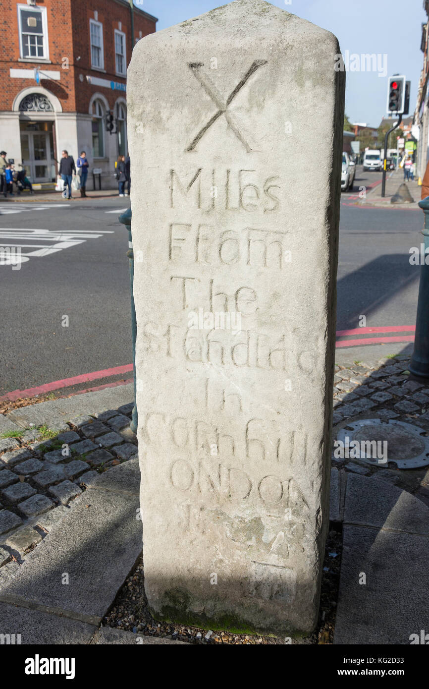Ancient milestone at The Triangle, Upper Richmond Road, East Sheen, London Borough of Richmond upon Thames, Greater - Stock Image