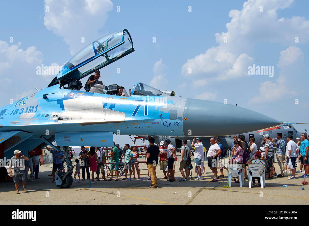 Sukhoi SU-27 Flanker, Ukrainian Air Force, on display at Bucharest International Air Show (BIAS) 2016, Bucharest, - Stock Image