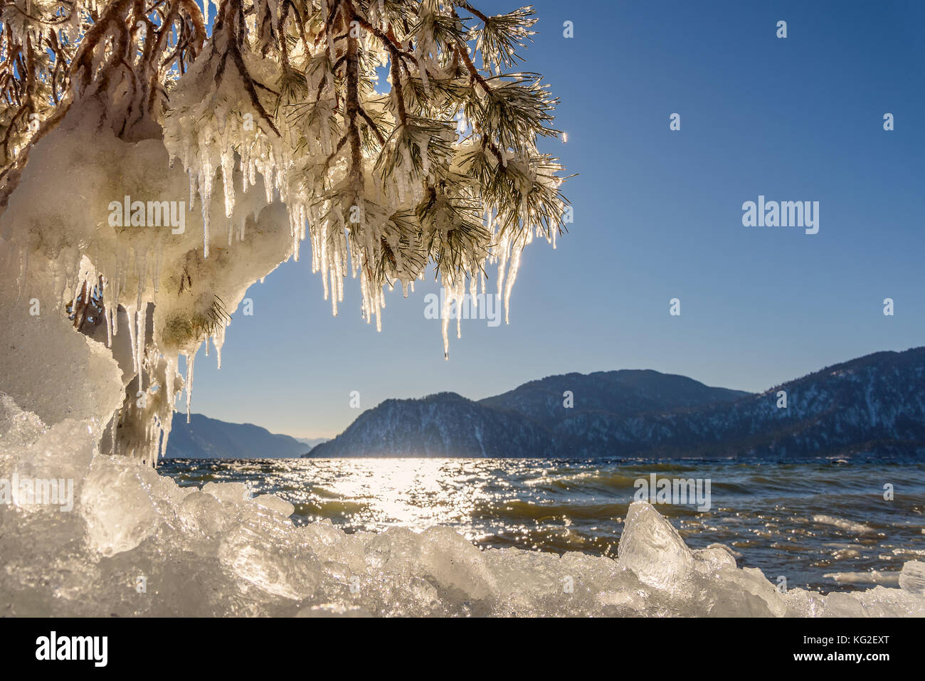 Beautiful winter views with the lake, mountains, ice on the shore, the sun glare on the water, and pine branches - Stock Image