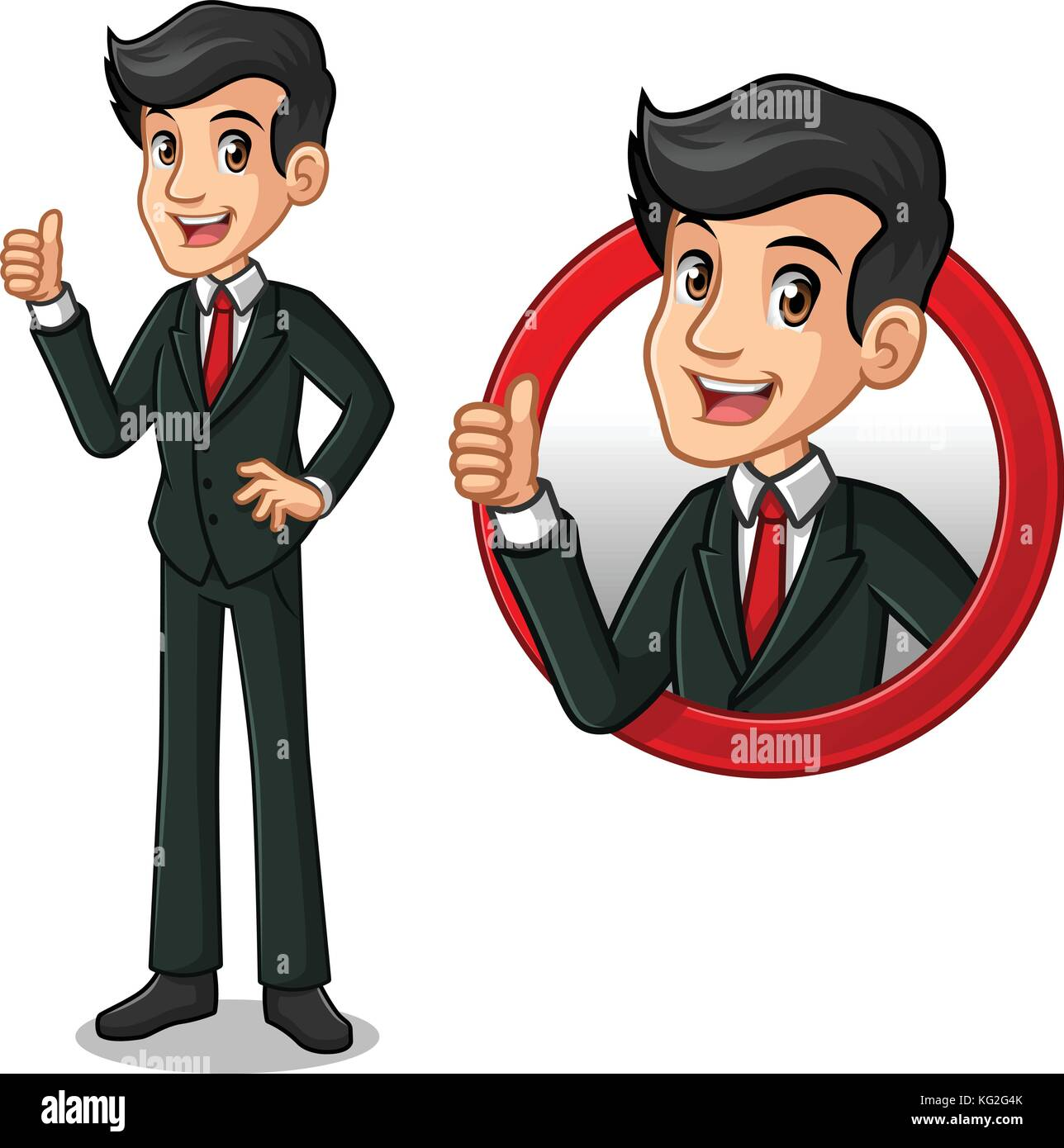 Set of businessman in black suit cartoon character design, inside the circle logo concept with showing like, ok, - Stock Image