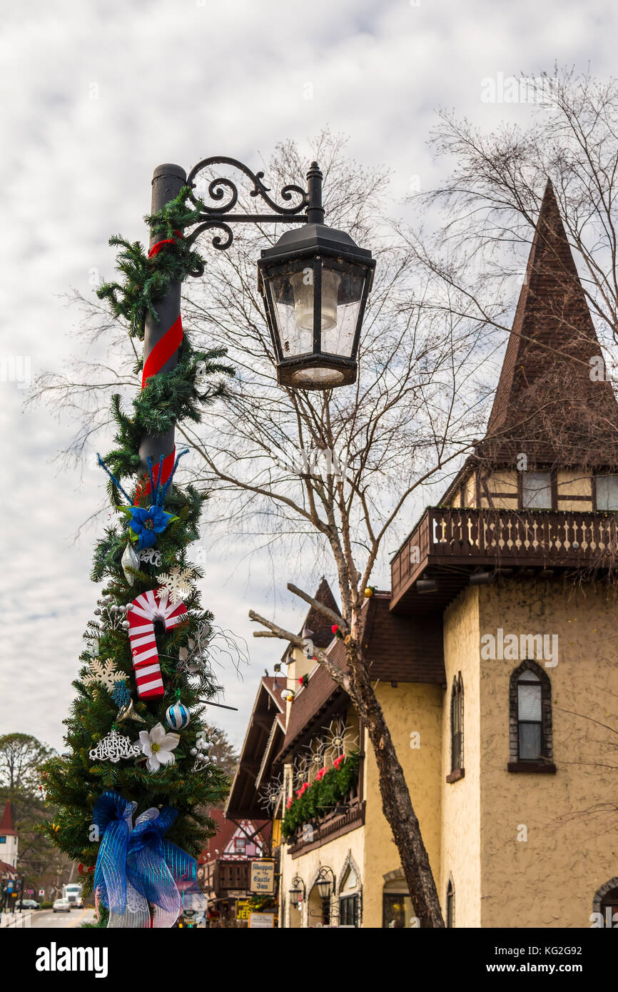 helen georgia usa december 14 2016 the street light with christmas