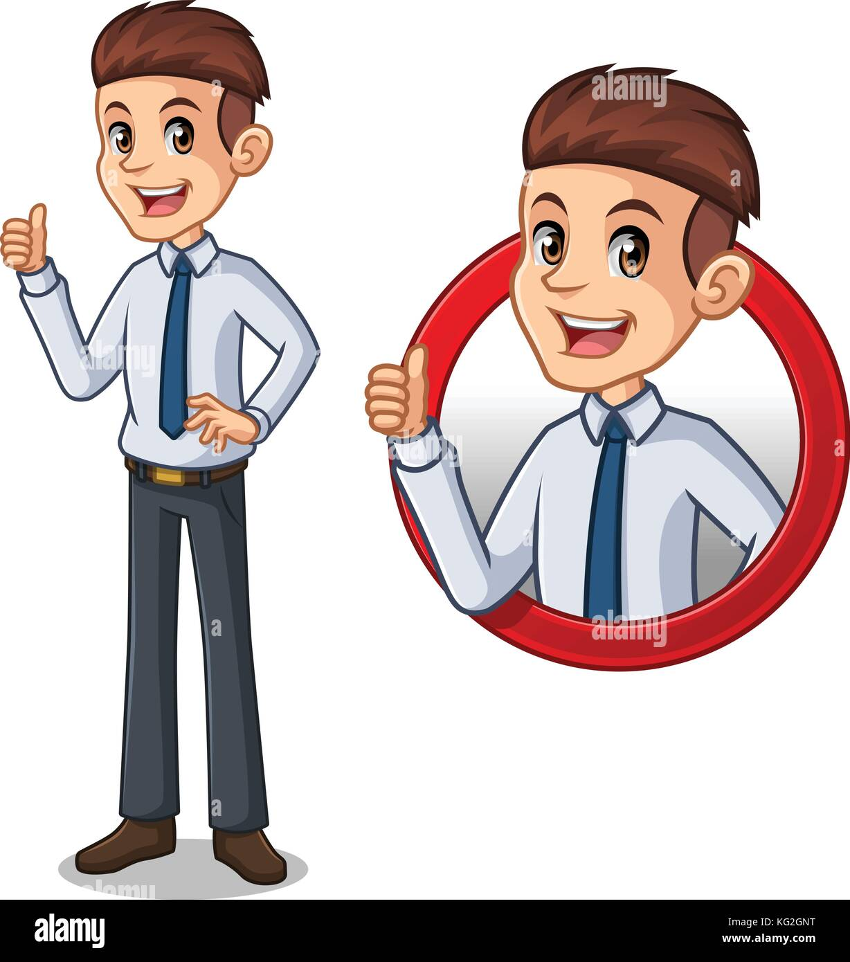 Set of businessman in shirt cartoon character design, inside the circle logo concept with showing like, ok, good - Stock Image