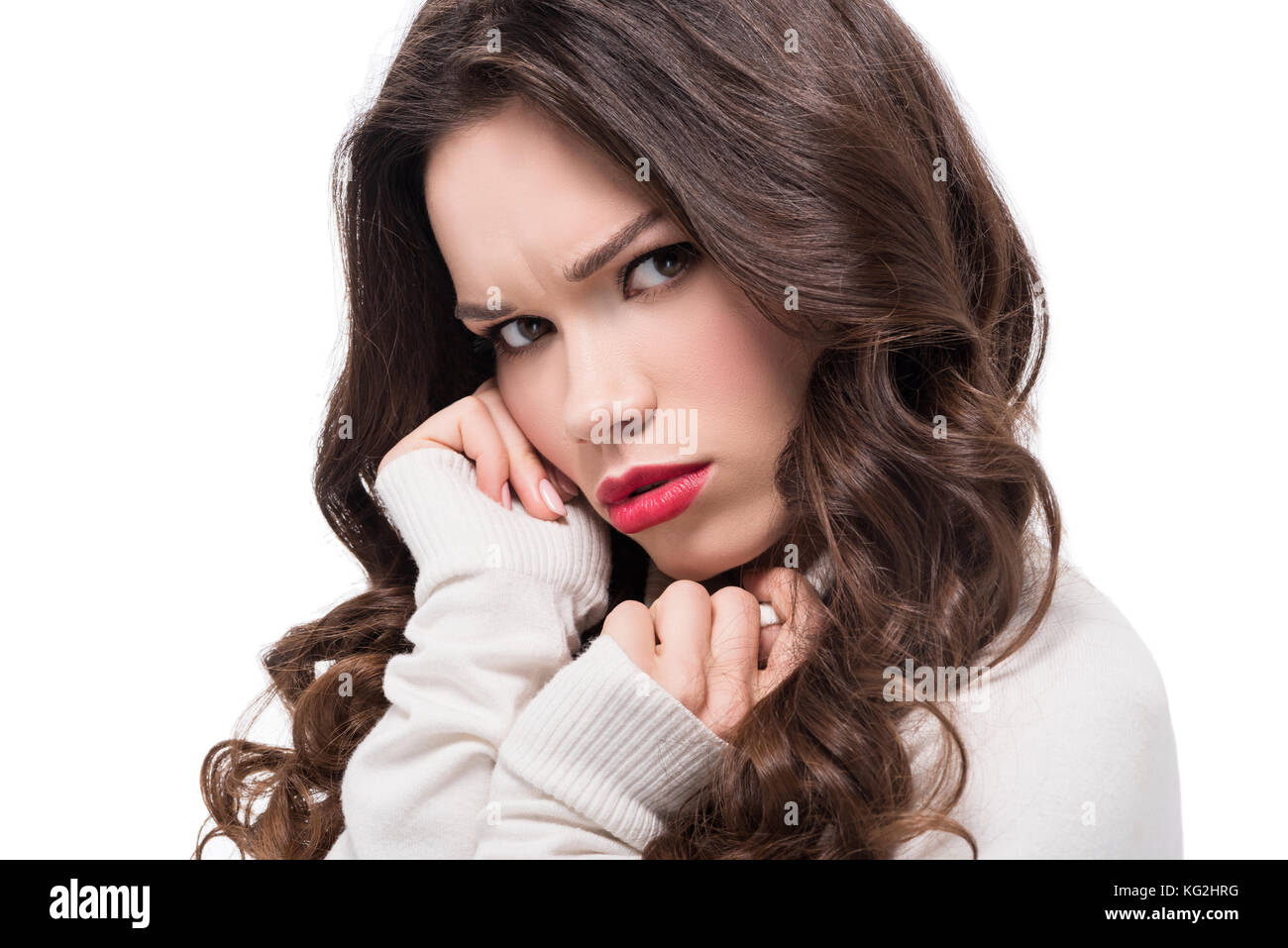 dissatisfied woman with red lips - Stock Image