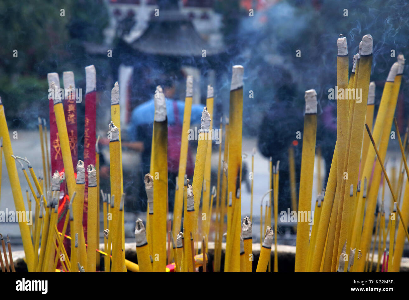 incense burning at po lin monastery on lantau island hong kong - Stock Image