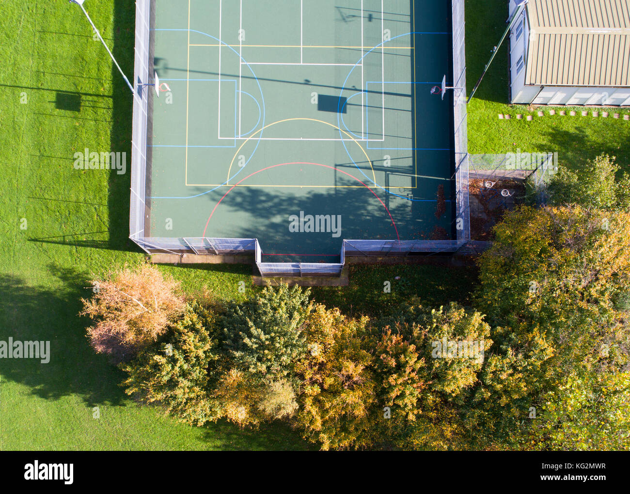all weather sports courts in burgess hill west sussex from the air - Stock Image