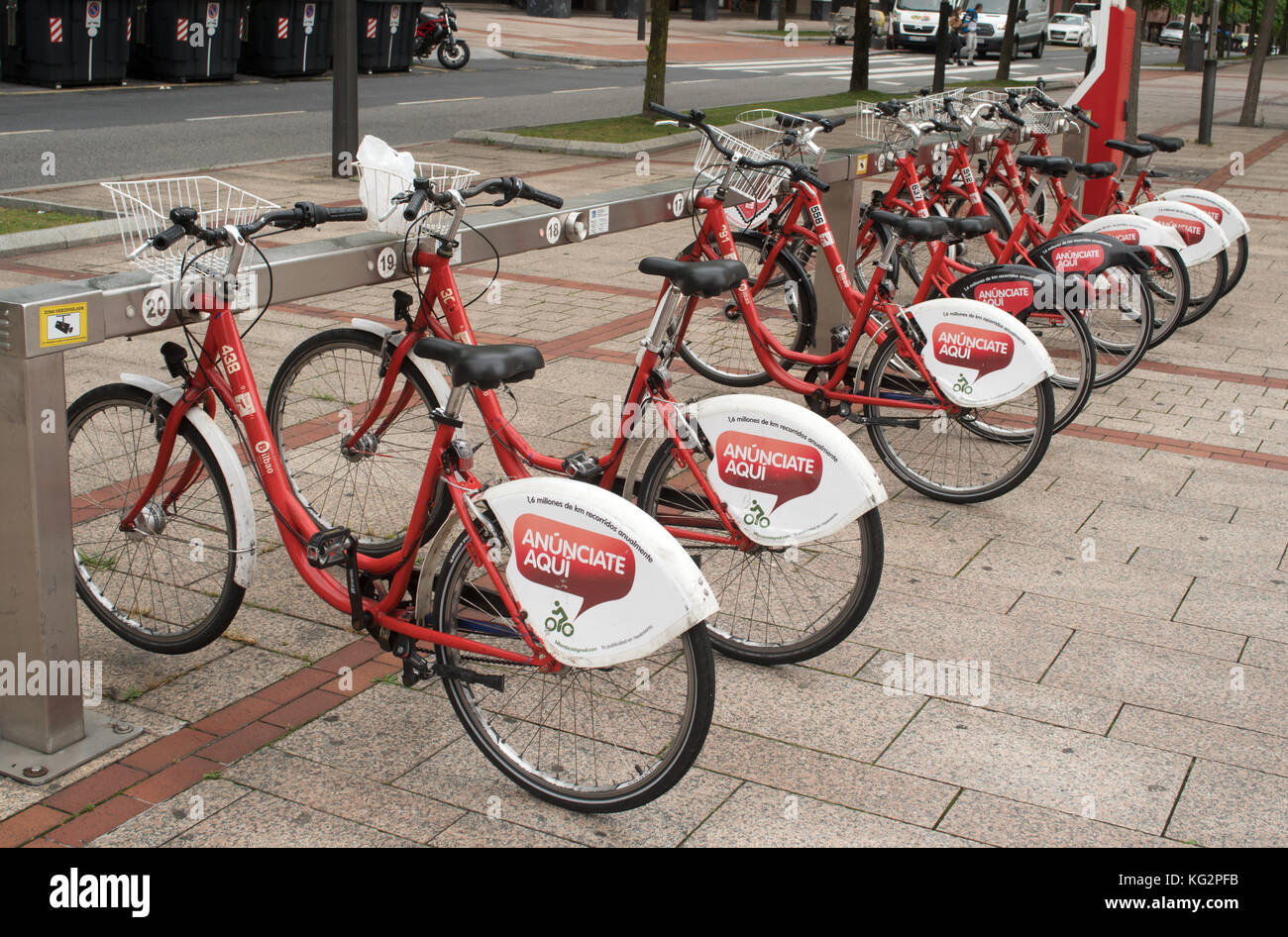 A row of hire bikes, Bilbao, Spain, Europe - Stock Image