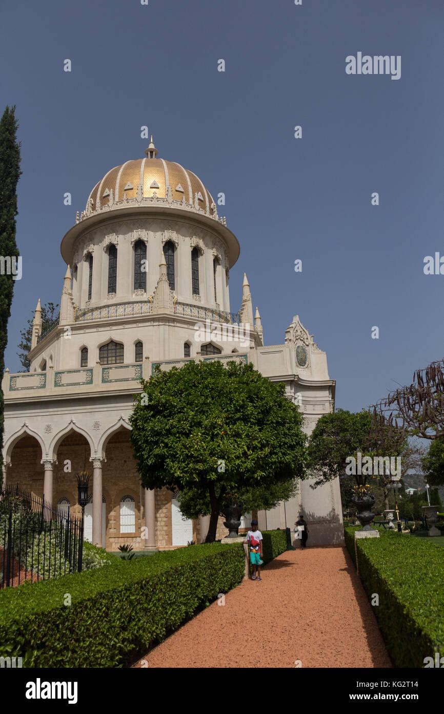 Bahai gardens in Haifa and Templar Ruins in Acre, Israel - Stock Image