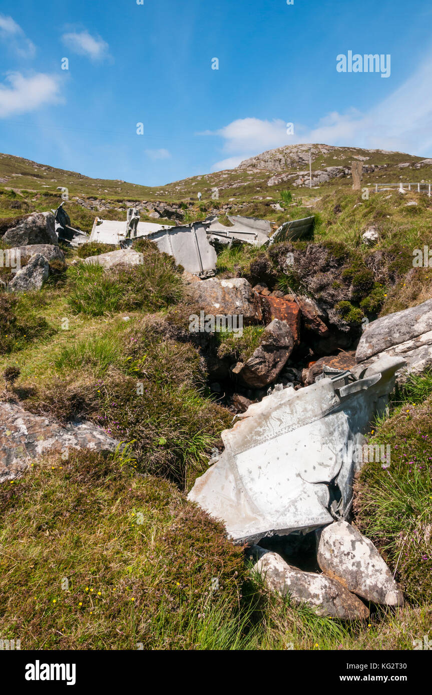 The wreckage of a Catalina Flying Boat that crashed on the island of Vatersay during WWII in 1944.  DETAILS IN DESCRIPTION. - Stock Image