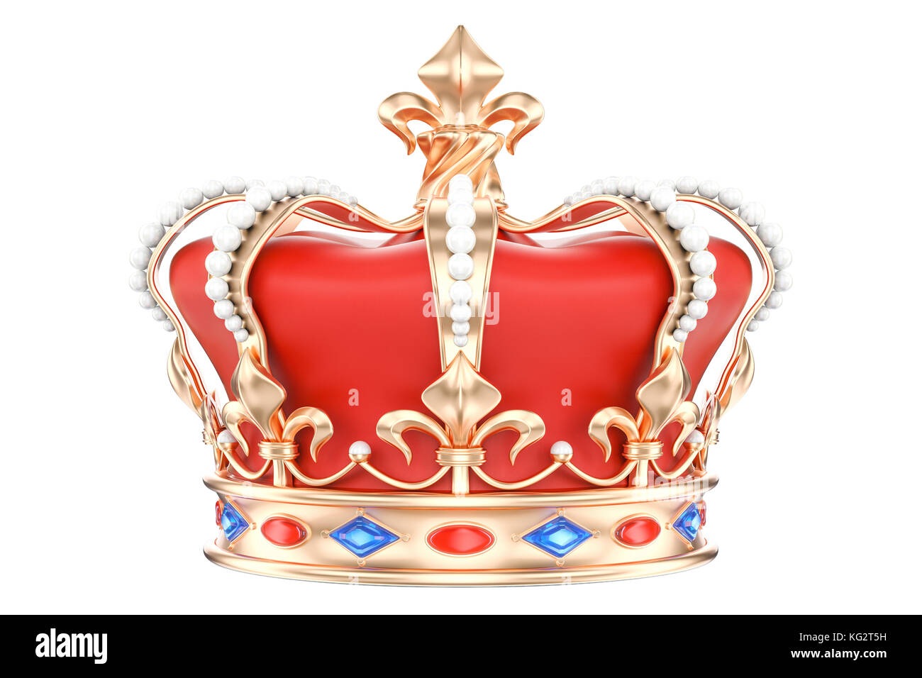 Golden Crown, 3D rendering isolated on white background - Stock Image