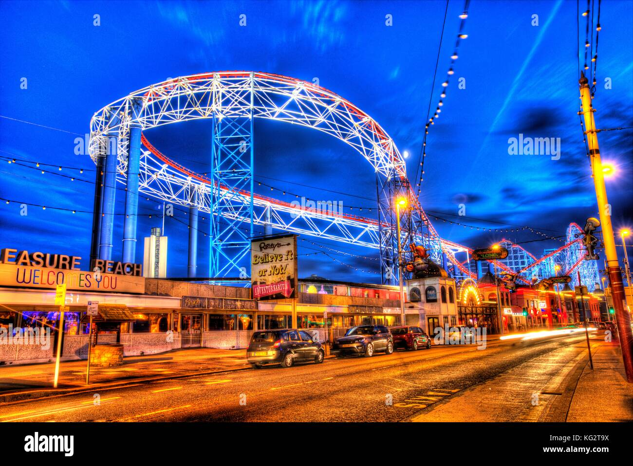 Town of Blackpool, England. Artistic night view of Blackpool Pleasure Beach. This photograph has been produced by - Stock Image