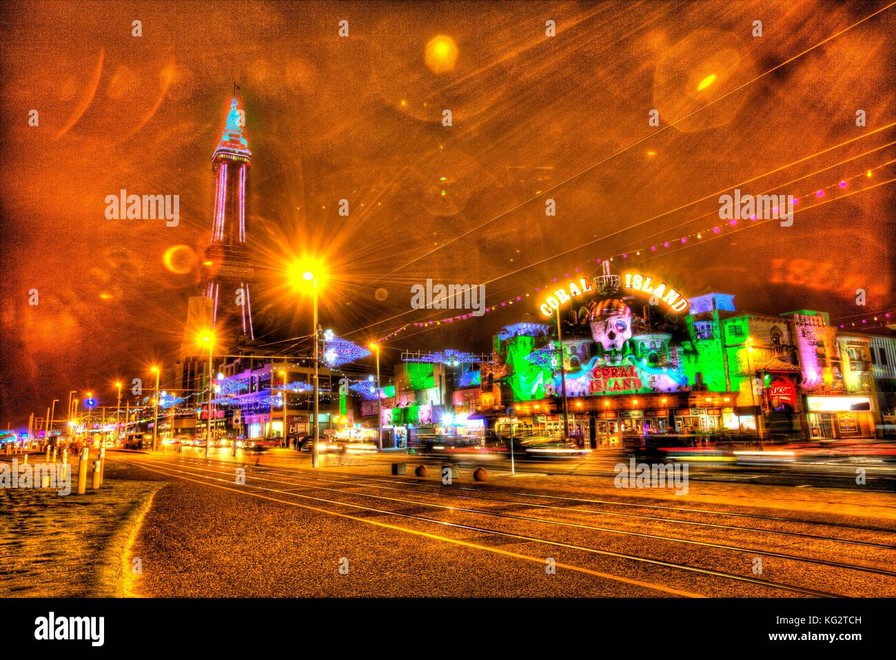 Town of Blackpool, England. Night view of Blackpool Illuminations and Blackpool Tower. This photograph has been Stock Photo