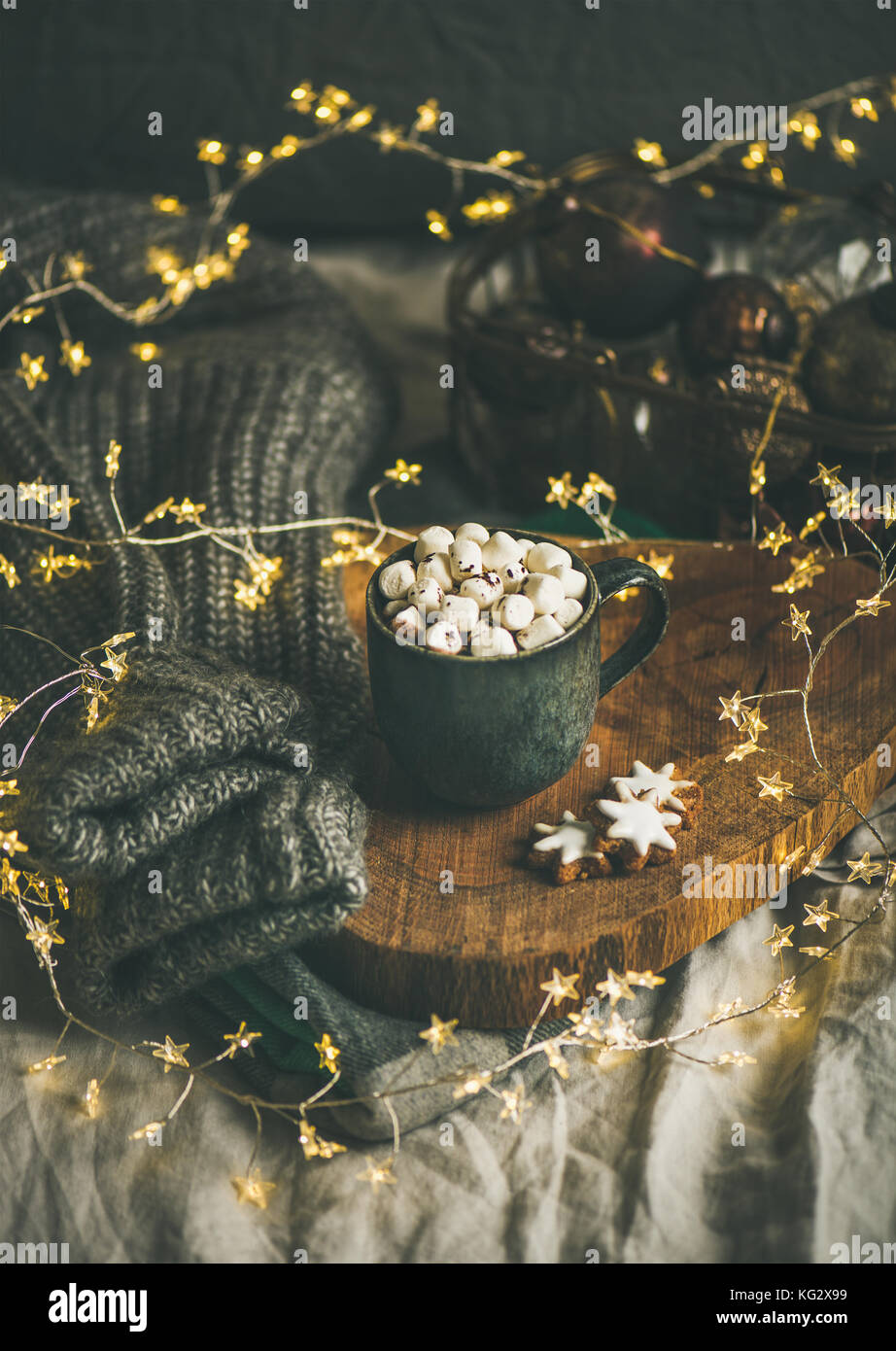 Christmas winter hot chocolate in mug with marshmallows and cookies - Stock Image