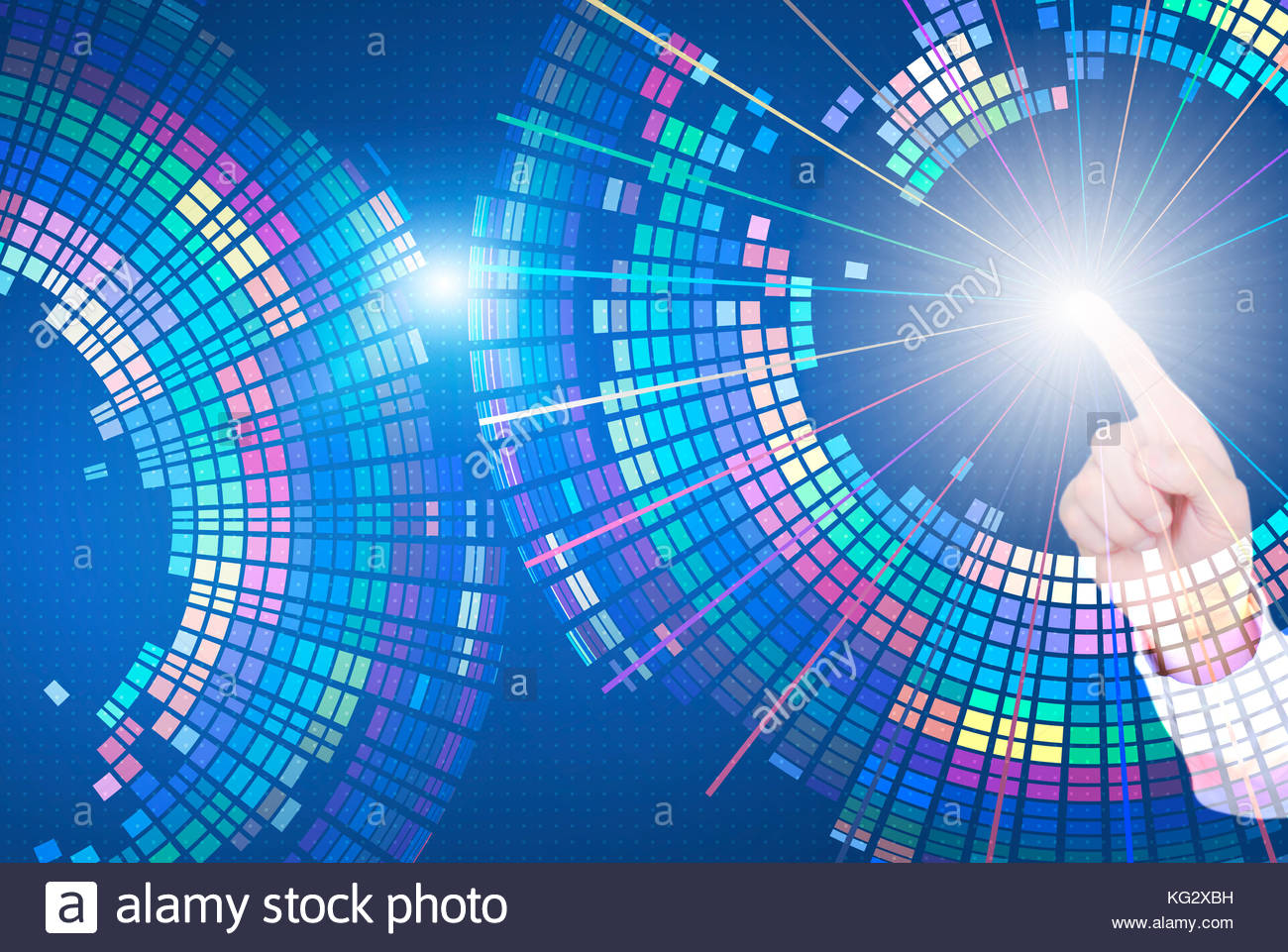 Touch the future, finger touch screen, composed of colorful color background of the rotation of the Abstracts and - Stock Image