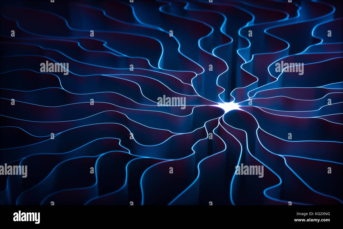 3D illustration. Concept of artificial neuron. The dendrite of an axon, slender projection of a nerve cell. - Stock Image